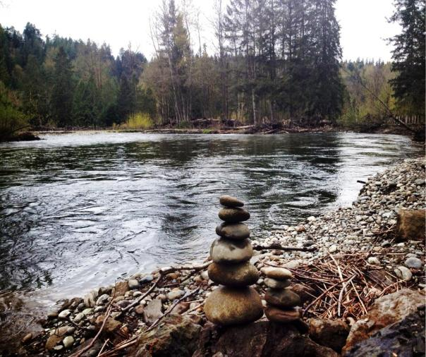 Cairns on the curve of the Cedar River, Issaquah.
