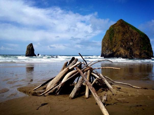 cannon beach with teepee
