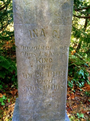 Ina G daughter of Chas E and Jennig King died 1903 aged 3 mos 19 days